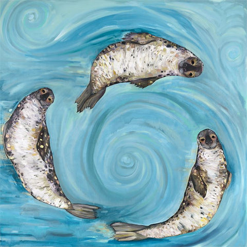 Ice Seals by Eli Halpin Canvas Wall Art, 14 x 14