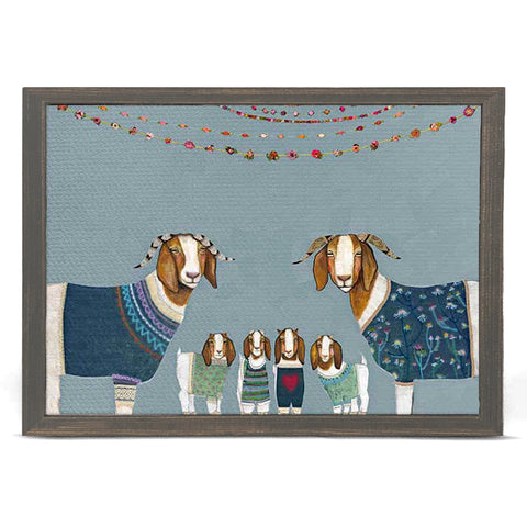 Goats in Sweaters on Blue by Eli Halpin 5 x 7 Mini Framed Canvas
