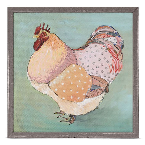 Patchwork Rooster by Emily Reid 6 x 6 Mini Framed Canvas