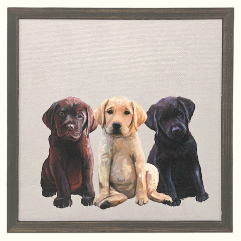 GreenBox Art + Culture Best Friend Lab Puppies by Cathy Walters 6 x 6 Mini Framed Canvas