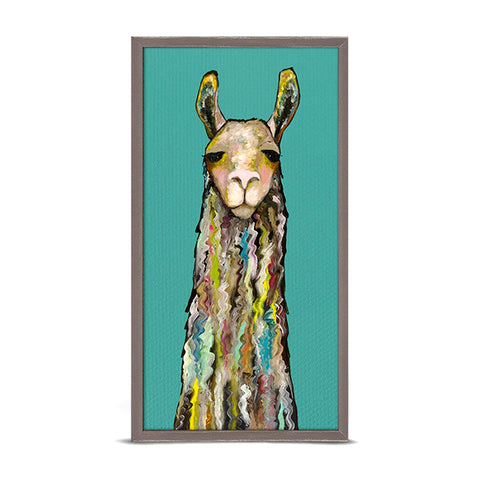 GreenBox Art + Culture Llama by Eli Halpin 5 x 10 Mini Framed Canvas, Rustic Natural