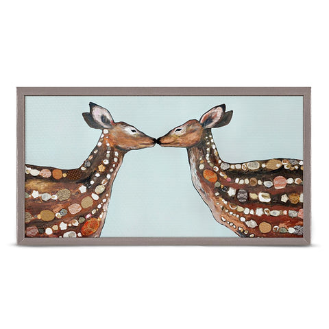 Deer Love by Eli Halpin 10 x 5 Mini Framed Canvas, Rustic Natural NB44971