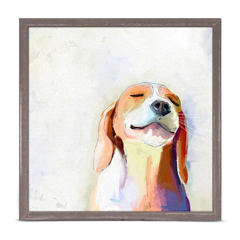 Best Friend Beagle Grin by Cathy Walters 6 x 6 Mini Framed Canvas, Rustic Natural NB49055