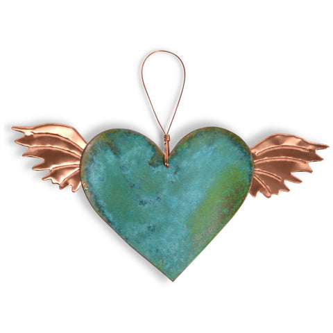 Dos Damas Designs Heart with Wings Copper Ornament