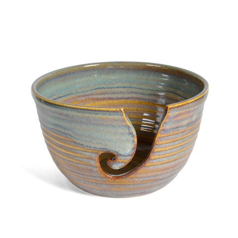Holman Pottery Yarn Bowl, Ocean Spray Glaze