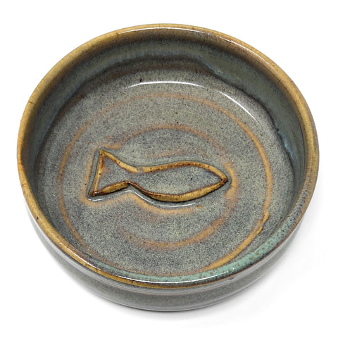 Holman Pottery Cat Feeding Bowl with Fish Motif