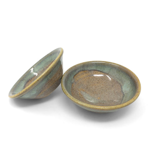 Holman Pottery Small Wasabi/Pinch Bowl, Set of 2, Ocean Spray