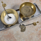 Hammered Metal 3-inch Condiment Bowls with Spoons and Cast Aluminum Tray, Gold/Silver