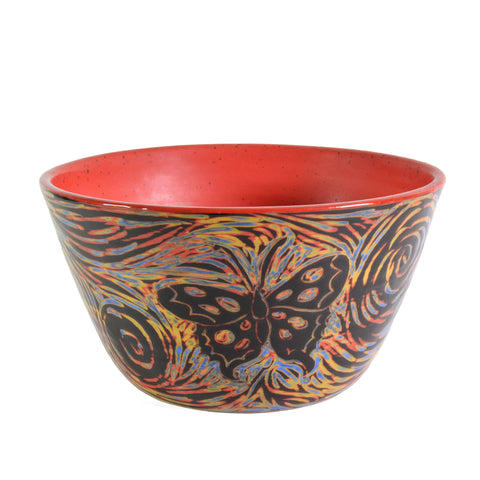 "John Hutson Pottery Butterfly 7"" Serving Bowl, Red/Multi - The Barrington Garage"