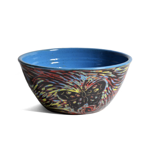 "John Hutson Pottery Butterfly 7"" Serving Bowl, Turquoise/Multi - The Barrington Garage"