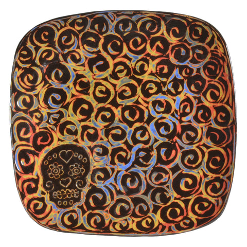 John Hutson Pottery Sugar Skull Square Dinner Plate - The Barrington Garage