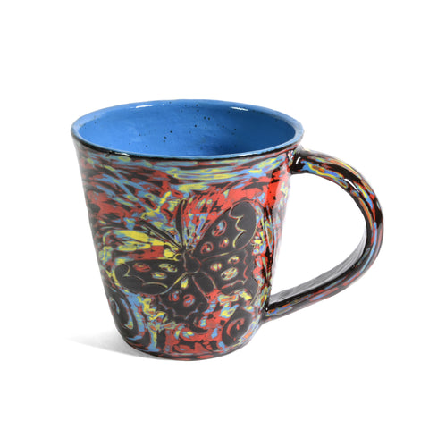 John Hutson Pottery Butterfly Mug, Turquoise/Multi - The Barrington Garage