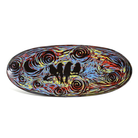 "John Hutson Pottery Night Birds 17"" Oval Serving Tray, Turquoise/Multi - The Barrington Garage"