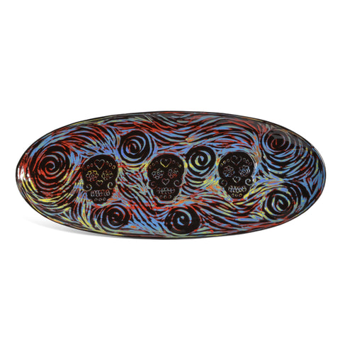 "John Hutson Pottery Sugar Skulls 17"" Oval Serving Tray, Turquoise/Multi - The Barrington Garage"