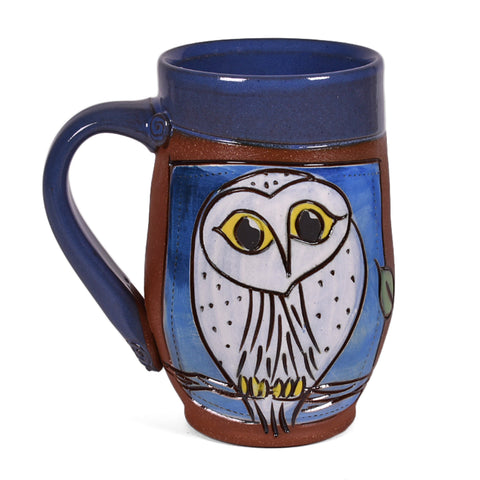 Jennifer Stas Pottery Snowy Owl 14-ounce Coffee Mug, Blue/Multi