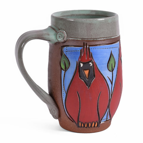 Jennifer Stas Pottery Cardinal 14-ounce Coffee Mug, Red/Multi