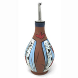 Jennifer Stas Pottery White Birch with Cardinals Handmade Oil Bottle, Blue/Multi