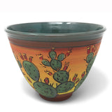Jennifer Stas Pottery Prickly Pear Cactus 7-inch Round Bowl, Green/Multi