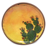 Jennifer Stas Pottery Prickly Pear Cactus 7-inch Round Terra Cotta Plate, Green/Multi