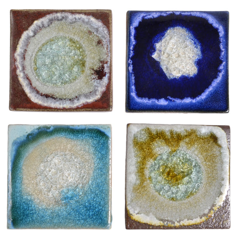 Dock 6 Pottery Coasters with Fused Glass, Mixed Colors, Set of 4 - The Barrington Garage