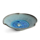 Dock 6 Pottery Pinched Rim Bowl with Fused Glass, Turquoise - The Barrington Garage