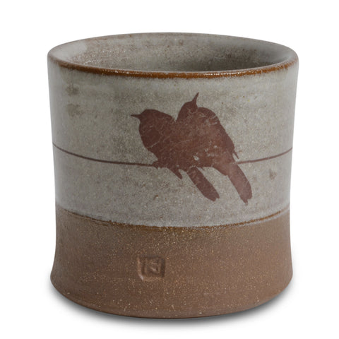 Keith Hershberger Ceramics Birds on a Wire Small 8-ounce Tumbler/Votive Candle Holder