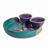 Larrabee Ceramics Double Bowl Chip and Dip Platter, Mauve/Green