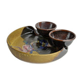 Larrabee Ceramics Double Bowl Chip and Dip Platter, Brown/Multi