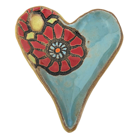 Laurie Pollpeter Eskenazi Playful Poppy 6-inch Footed Heart Dish