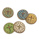 Laurie Pollpeter Eskenazi Decorative Ceramic Buttons, Cross, Set of 5