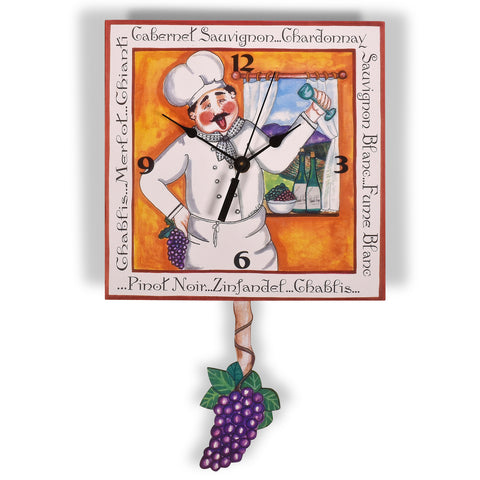 Laughing Moon Winemaker Pendulum Wall Clock, Handmade in The USA