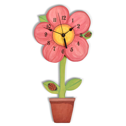 Laughing Moon Swinging Flowerpot Pendulum Wall Clock, Handmade in The USA