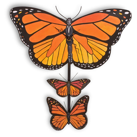 Laughing Moon Monarch Butterfly Pendulum Wall Clock, Handmade in The USA