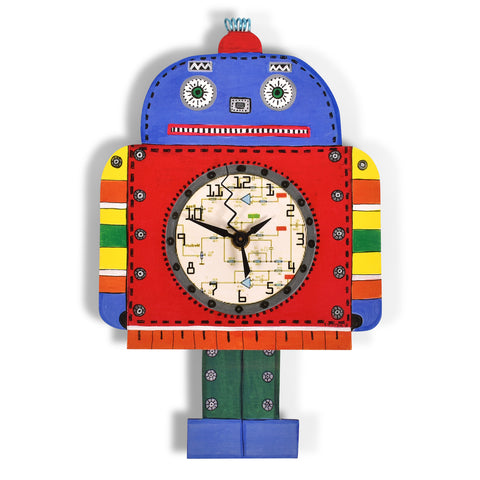 Laughing Moon Robotick Pendulum Wall Clock, Handmade in The USA