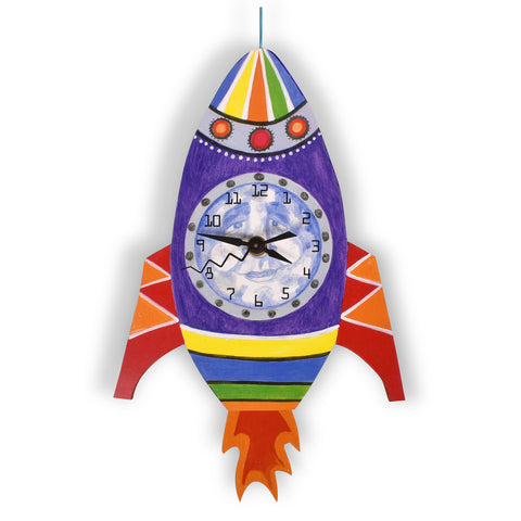 Laughing Moon Man in The Moon Rocket Pendulum Wall Clock, Handmade in The USA