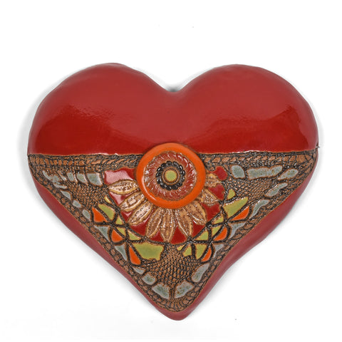 Laurie Pollpeter Eskenazi Black Eyed Susan Small Ceramic Wall Heart, Red/Multi