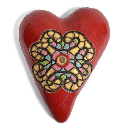 Laurie Pollpeter Eskenazi Pottery Wall Art, Sandra Heart in Red, HT220
