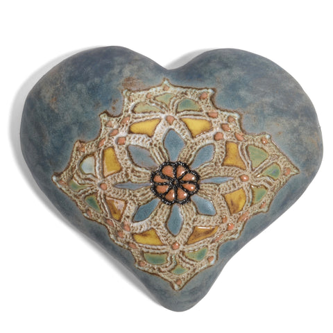 Laurie Pollpeter Eskenazi Pottery Wall Art, Miss Mosaic Heart in Denim HTF206D