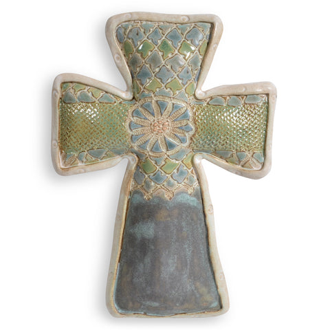 Laurie Pollpeter Eskenazi St. Augustine Handcrafted American Pottery Wall Cross