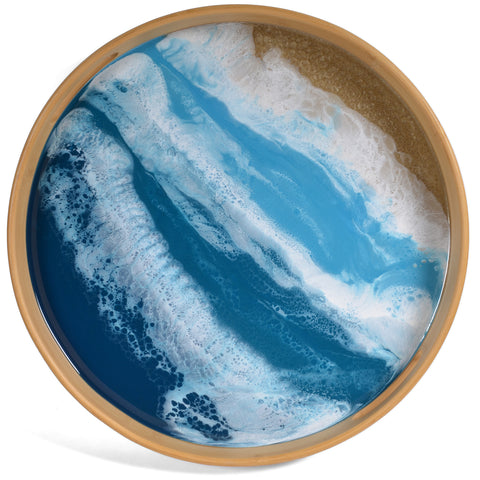 Lynn & Liana Bamboo and Resin 15.5-inch Round Serving Tray, Ocean Vibes
