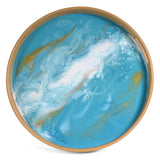 Lynn & Liana Bamboo and Resin 15.5-inch Round Serving Tray, Teal, White, and Gold