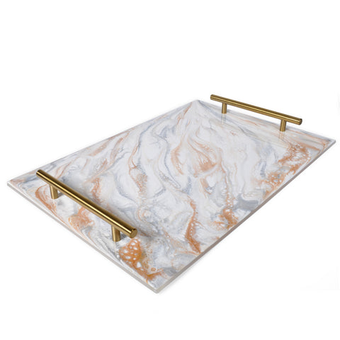 Lynn & Liana Acrylic Tray with Eco-Friendly Resin, Brass Handles, Grey, White, and Gold