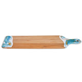 "Lynn & Liana Baguette Cutting Board with Resin Accents, 24"" x 5"", Teal, White, Grey"