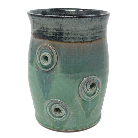 MJ Wilkinson Pottery Handmade Yarn Crock, Green/Blue