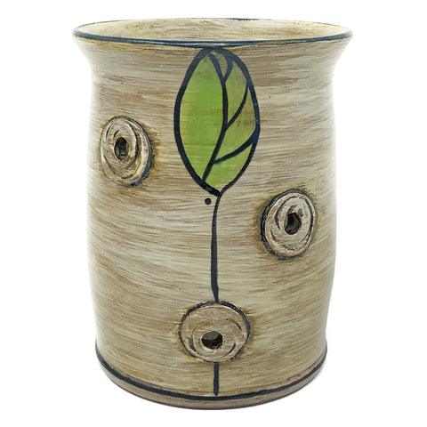 MJ Wilkinson Pottery Hand-Painted Yarn Crock, Leaf Pattern