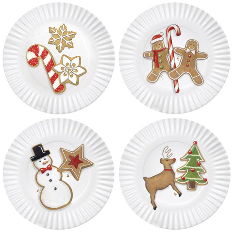 Mary Lake-Thompson Christmas Cookies 7.5-inch Melamine Plates, Set of 4