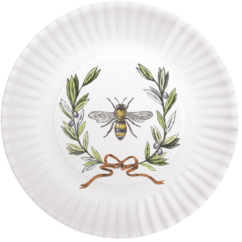 "Mary Lake-Thompson Bee with Olive Wreath 7.5"" Melamine Plates, Set of 4"
