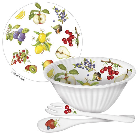 Mary Lake-Thompson Fruit 11-inch Melamine Bowl with Serving Spoon and Fork