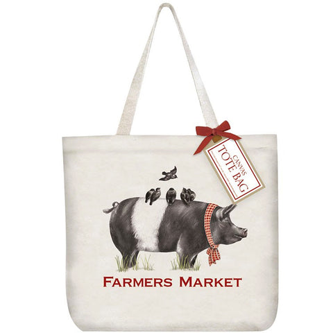 Mary Lake-Thompson Farmhouse Pig Cotton Canvas Tote Bag
