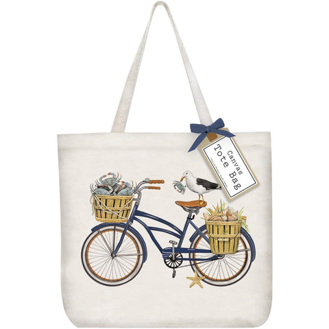 Mary Lake-Thompson Blue Crab Bike Cotton Canvas Tote Bag